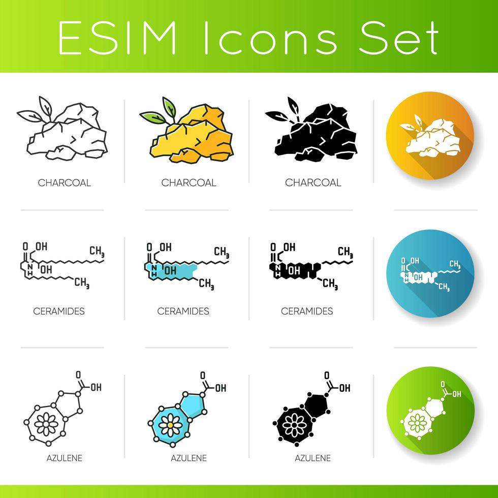 Cosmetic ingredient icons set. Charcoal organic component. Ceramide formula. Azulene compound. vector