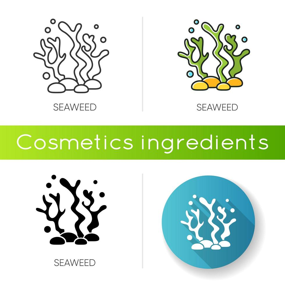 Seaweed icon. Natural component. Skincare treatment product. vector