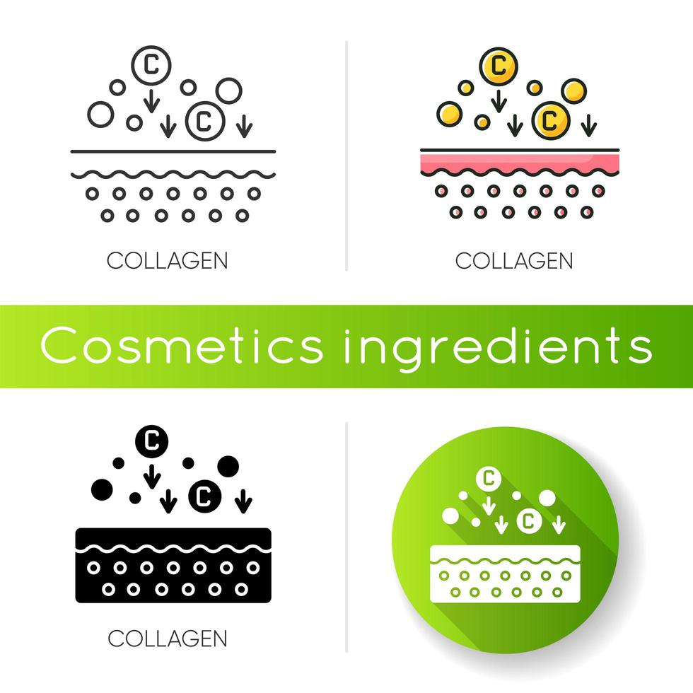 Collagen icon. Chemical components. Dermatology and cosmetology. Skincare treatment. vector