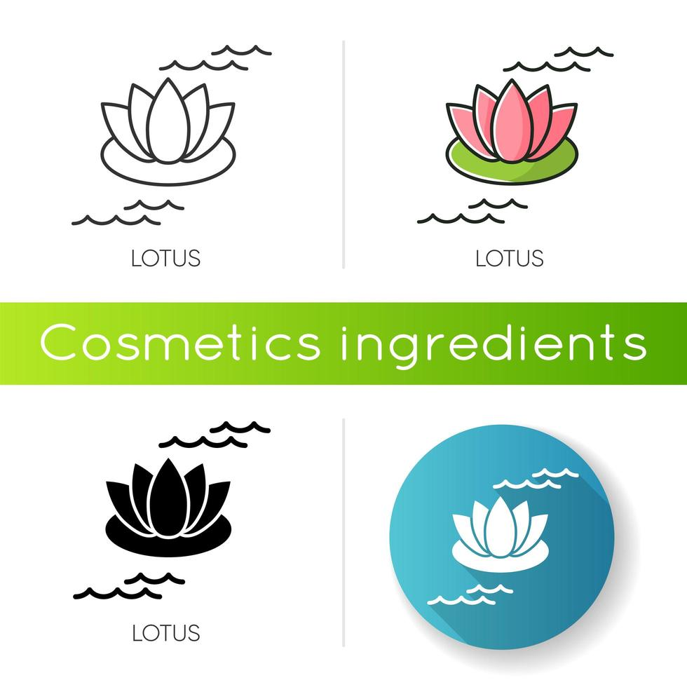 Lotus icon. Blooming lily flower. Yoga sign. Meditation and zen. Cosmetic ingredient to heal acne. vector