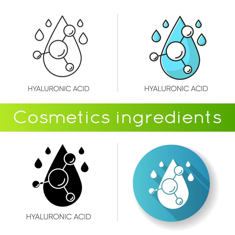 Hyaluronic acid icon. Hydrating chemical formula. Collagen to prevent wrinkles. Anti-aging effect. vector