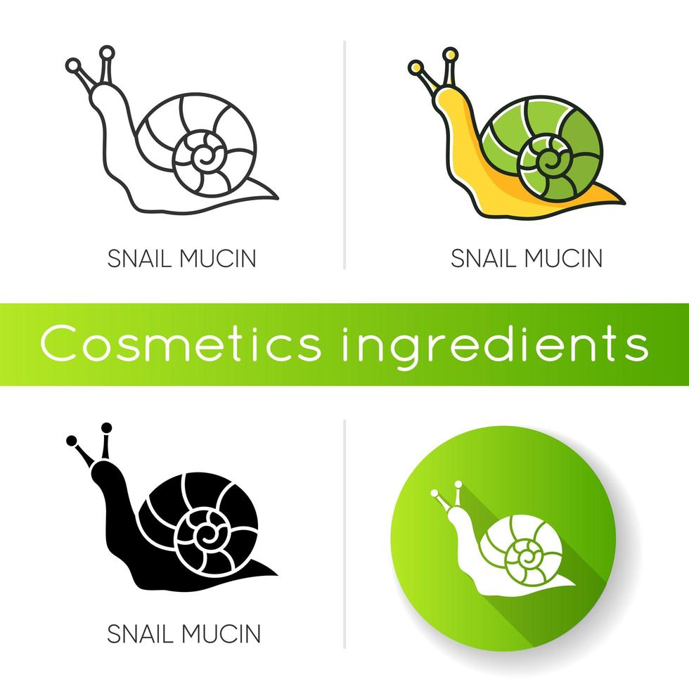 Snail mucin icon. Skincare natural component. Healing effect. Repairing effect for skin. vector