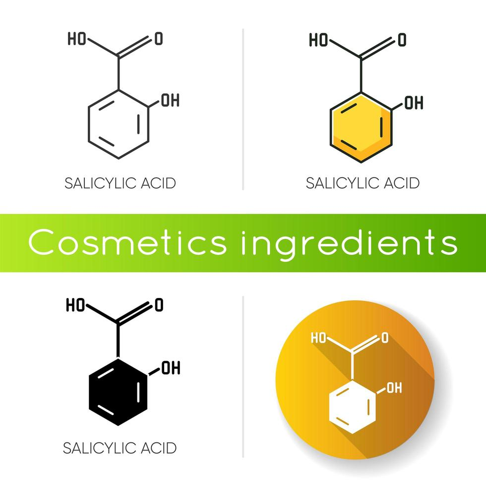 Salicylic acid icon. Chemical sequence. Molecular formula. Skincare component. vector