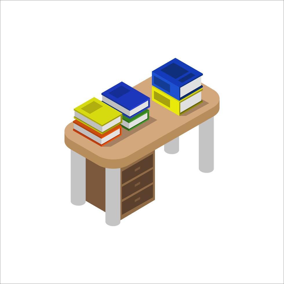 Escritorio con libros isométricos sobre fondo blanco. vector