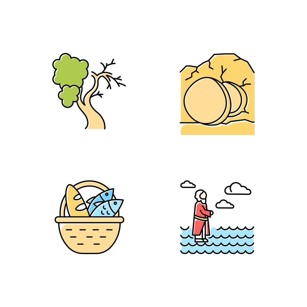 Conjunto de iconos de colores de narrativas bíblicas. higuera, ataúd abierto, pan y pescado, jesús caminando sobre el agua. Semana santa. vector