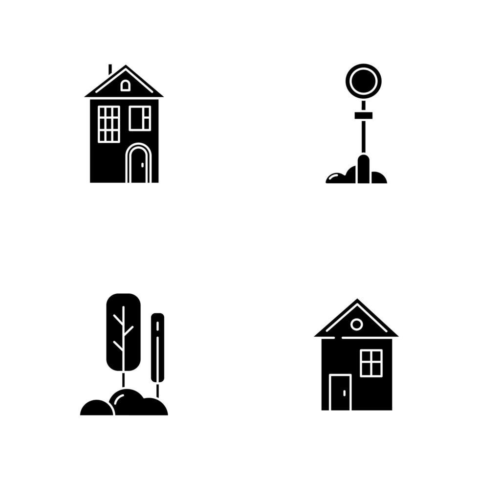 iconos de glifo negro de vida suburbana en espacio en blanco vector