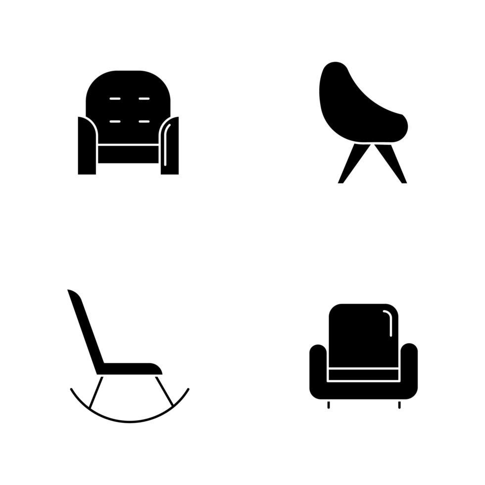 Silla variedad iconos de glifos negros en espacio en blanco vector