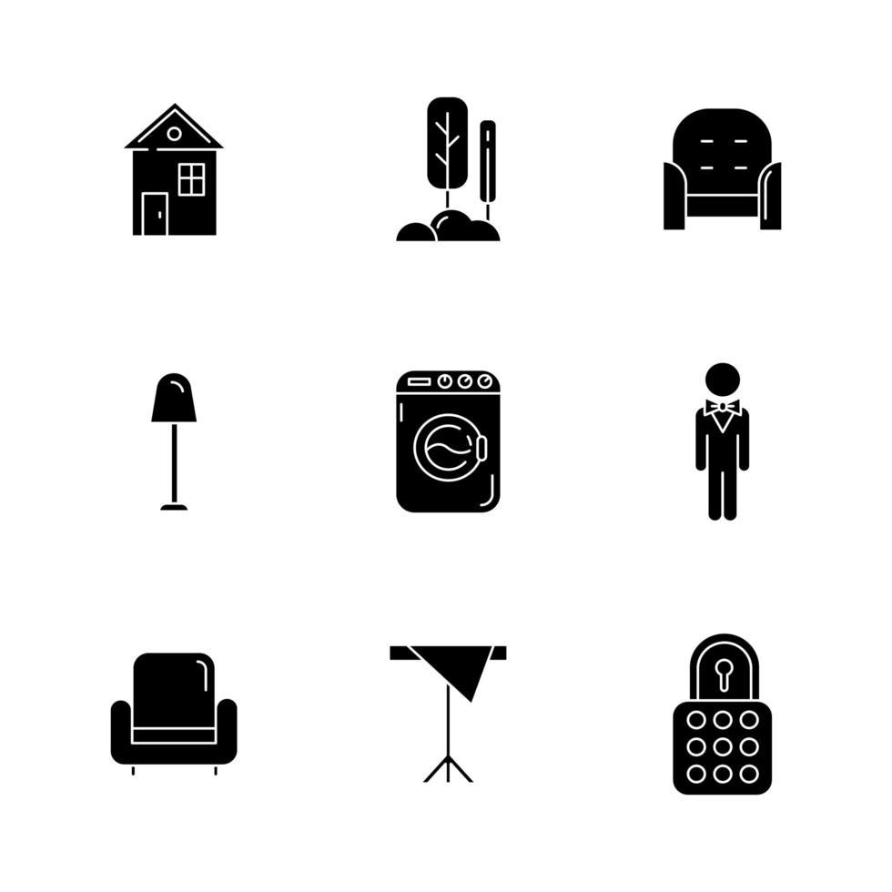 Iconos de glifos negros de confort en el hogar en espacio en blanco vector