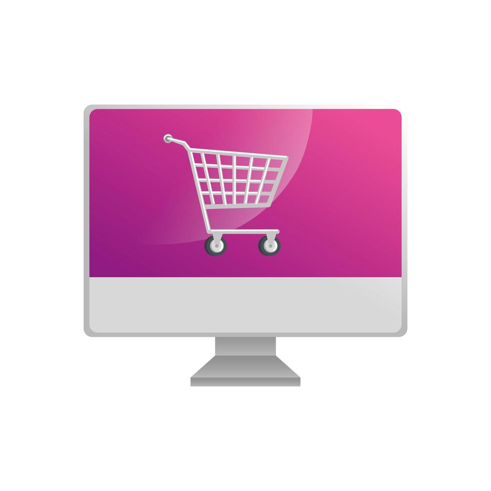 computer with cart shopping isolated icon vector
