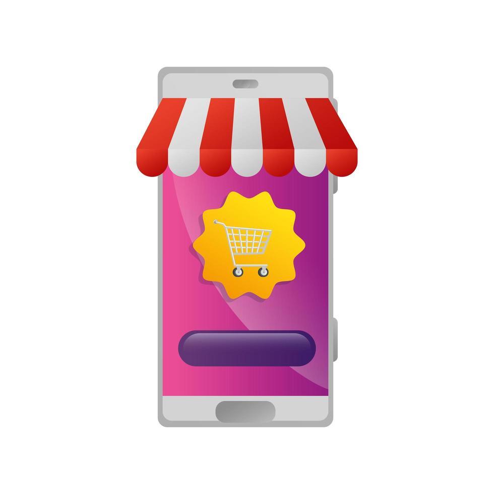 Smartphone con tienda de sombrillas y carrito de compras. vector