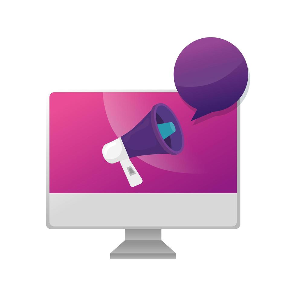 computer with megaphone and speech bubble vector
