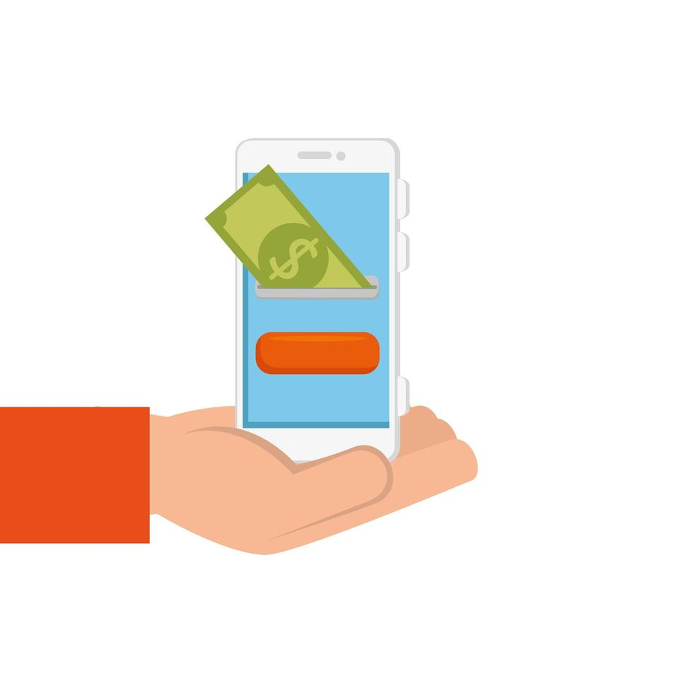 hand with smartphone and bill isolated icon vector