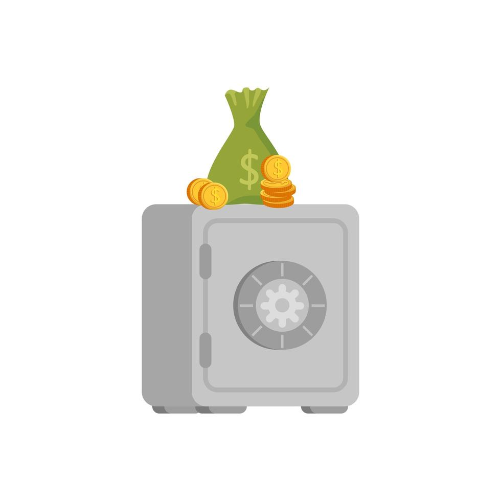 strongbox with bag money and coins vector