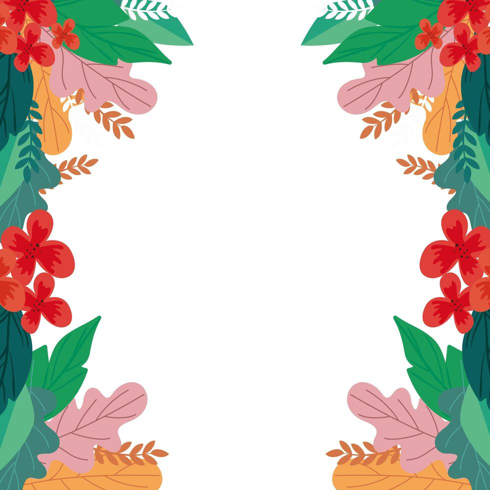frame of flowers with leafs natural isolated icon vector