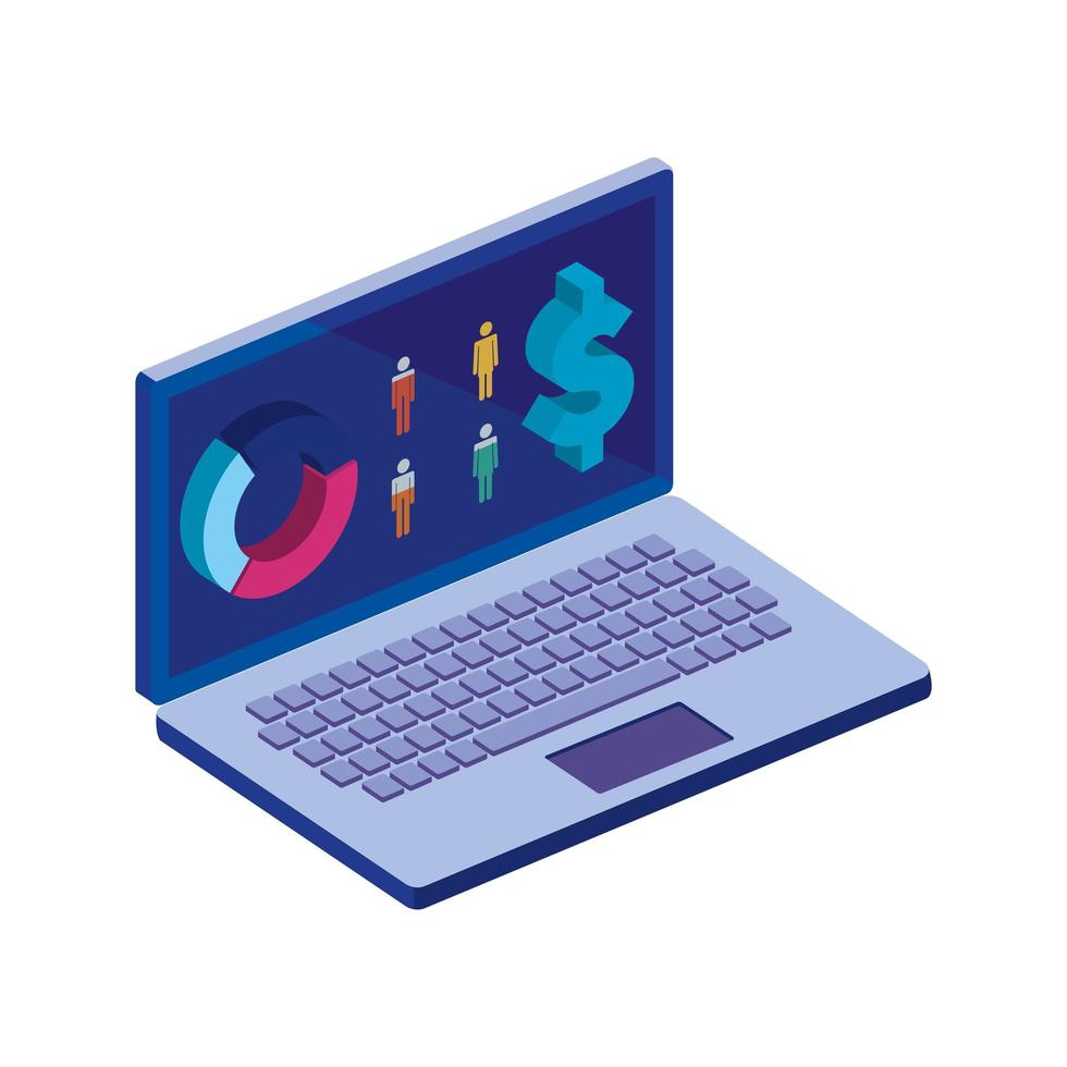 laptop computer with infographics isolated icon vector