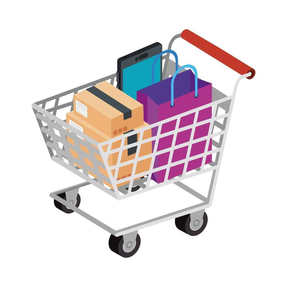 carrito de compras con iconos de conjunto vector