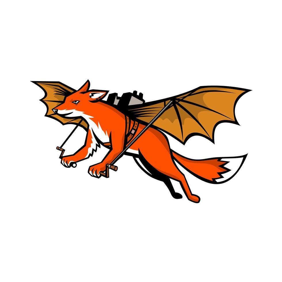 zorro volador con alas mecánicas mascota vector