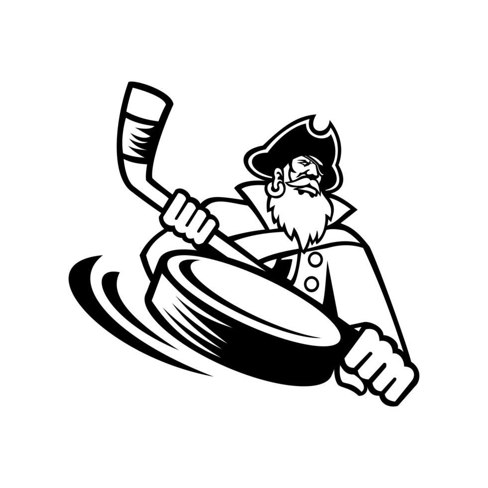 espadachín o pirata con palo de hockey sobre hielo y deportes de disco vector