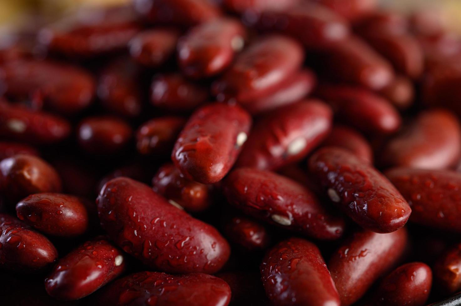 Red beans with water spray photo