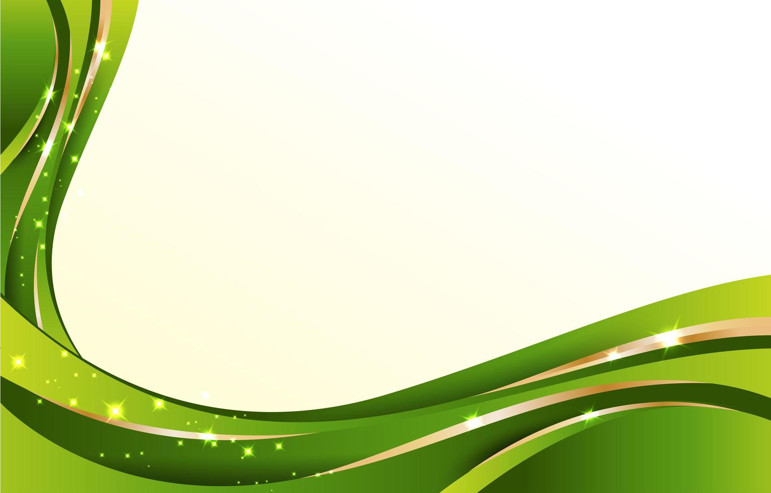 Abstract Green Background with Gold Wave Lines vector