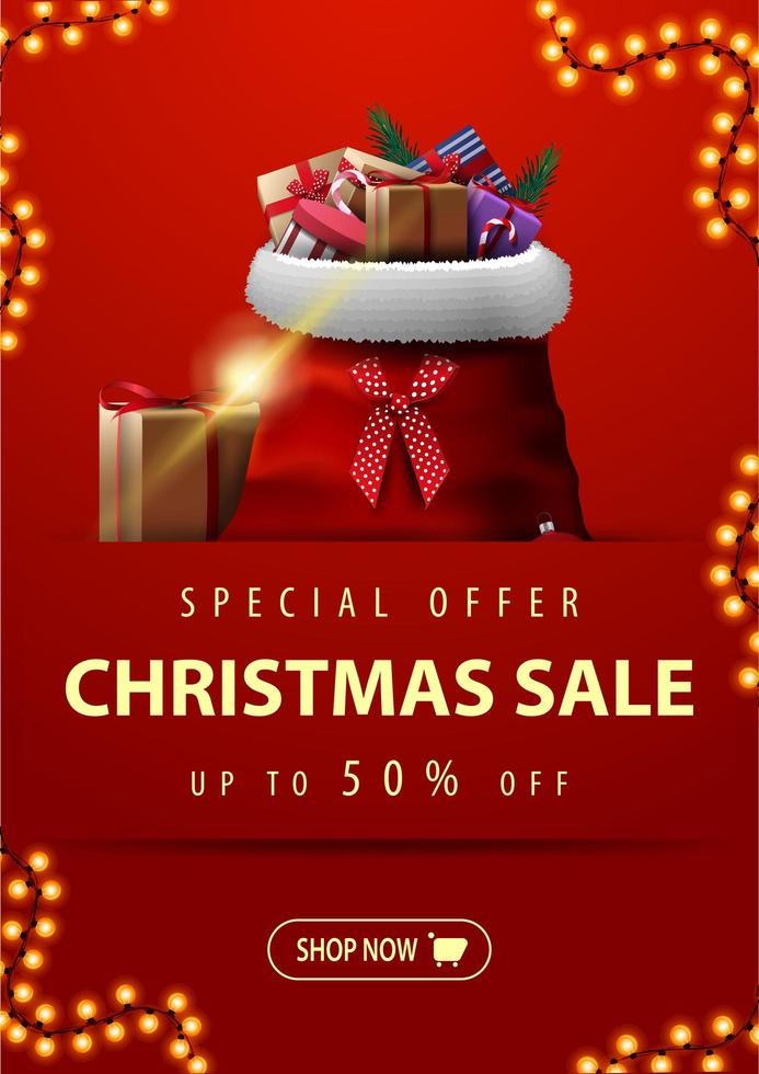 Special offer, Christmas sale, up to 50 off, vertical red discount banner with garland, button and Santa Claus bag with presents vector