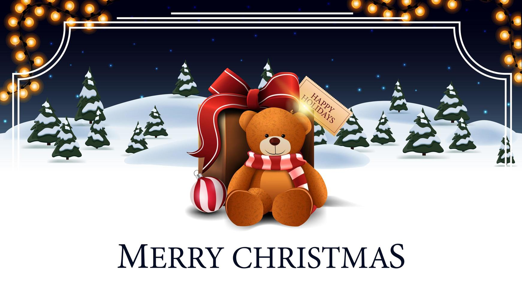 Merry Christmas, white and blue postcard with cartoon winter forest with spruces, starry sky, garland and present with Teddy bear vector