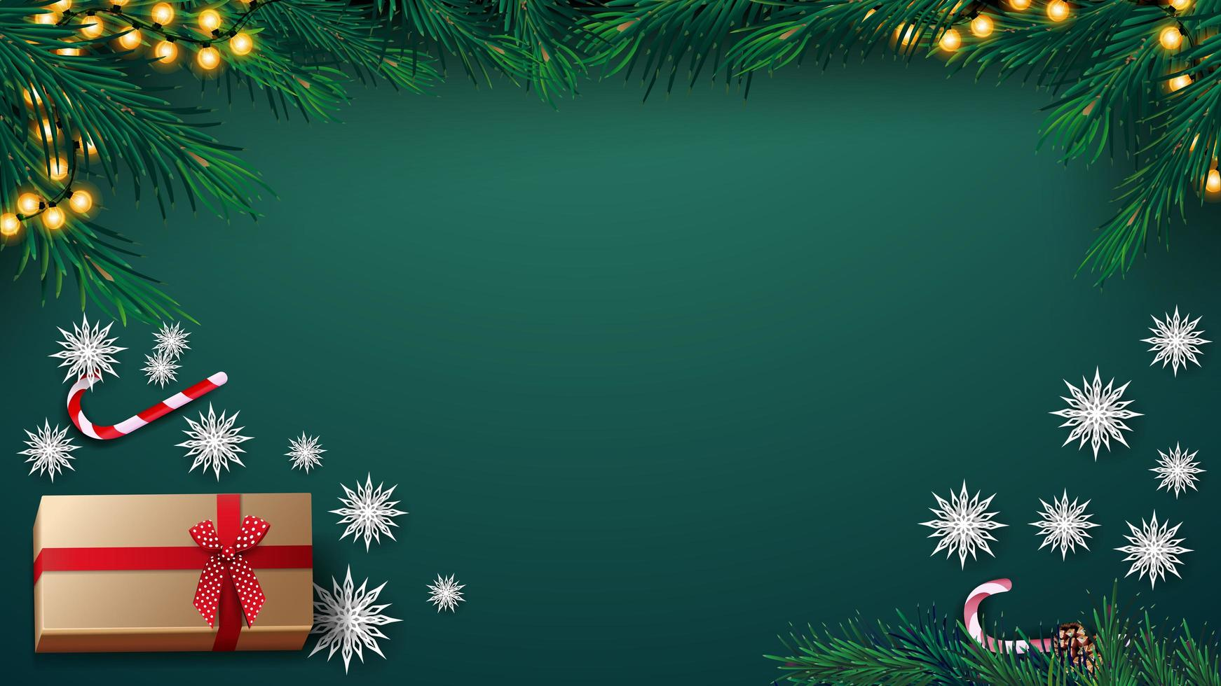 Christmas green background with garland, Christmas tree, present, paper snowflakes and candy can, top view vector