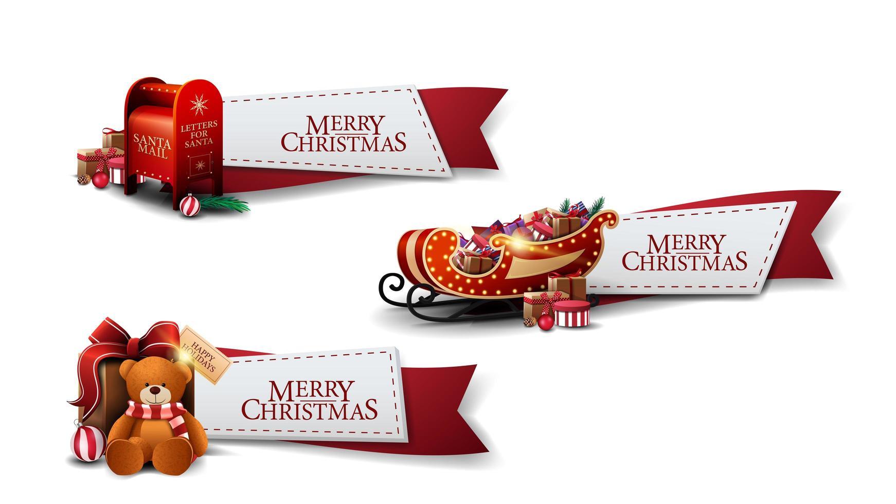 Conjunto de cintas rojas de felicitación de Navidad con iconos de Navidad aislado sobre fondo blanco. vector