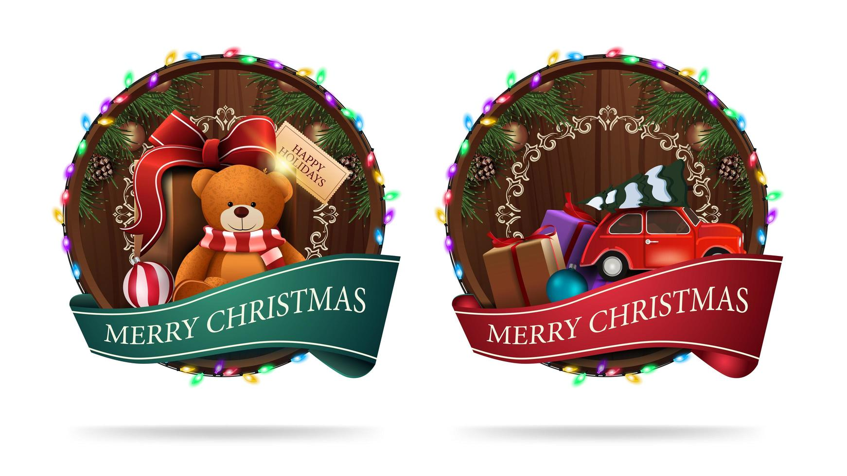 Christmas signs in the shape of a wooden barrel with a greeting ribbon and Christmas icons isolated on a white background vector