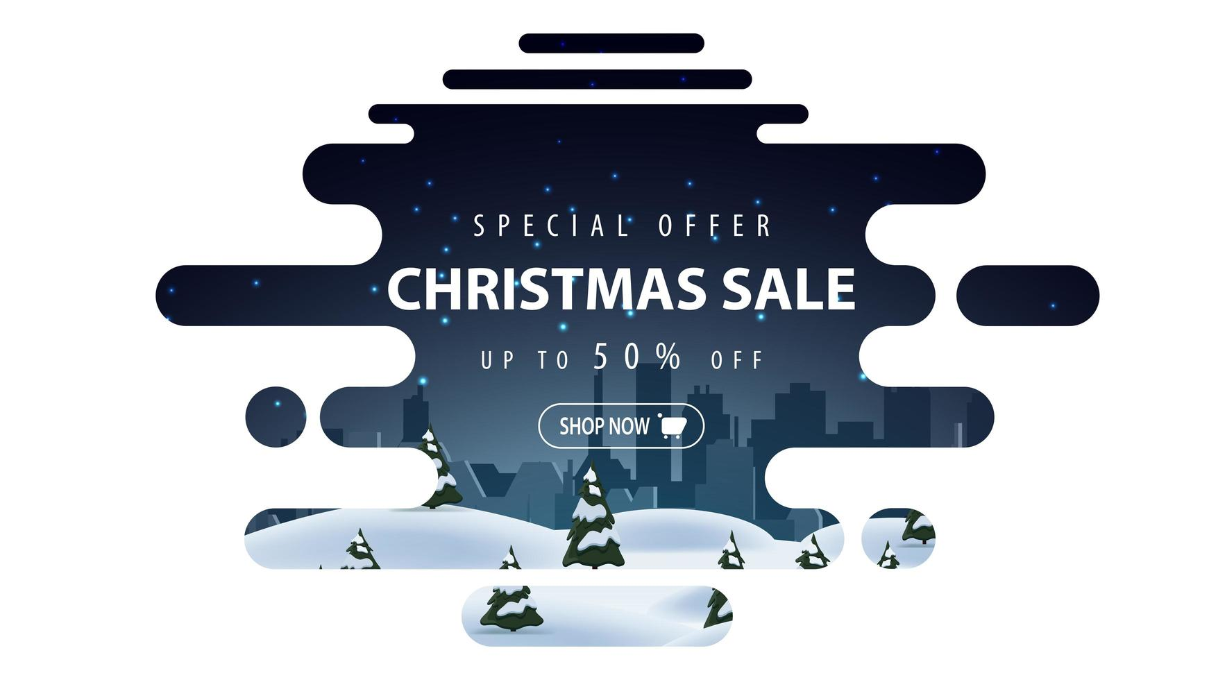 Special offer, Christmas sale, up to 50 off, beautiful white and blue discount banner in lava lamp style with smooth lines and winter landscape vector