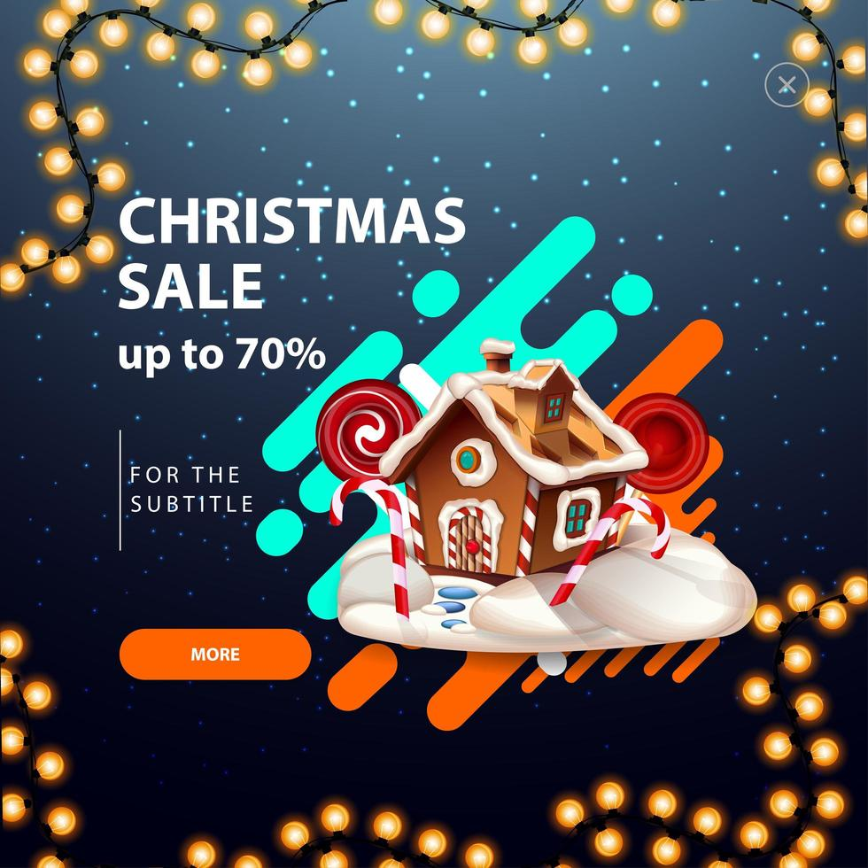 Christmas sale, up to 70 off, discount pop up for website with Christmas gingerbread house vector