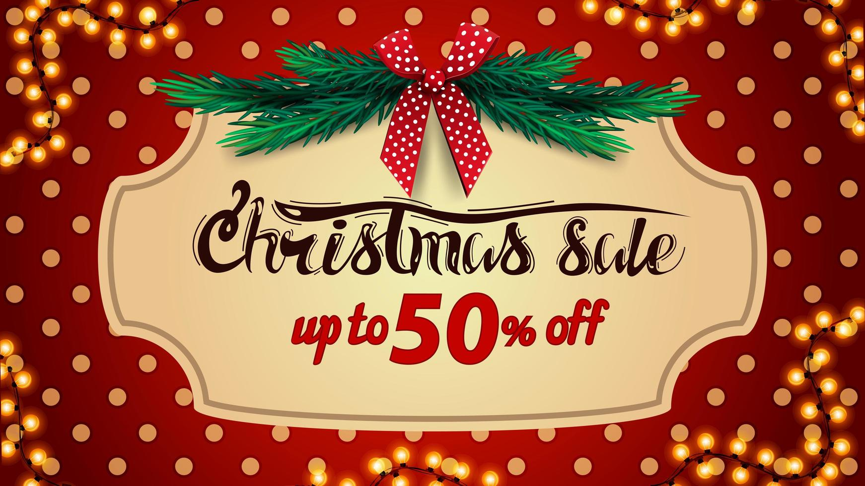 Christmas sale, up to 50 off, red discount banner with polka dot texture on background, vintage frame, christmas tree branches and red bow vector