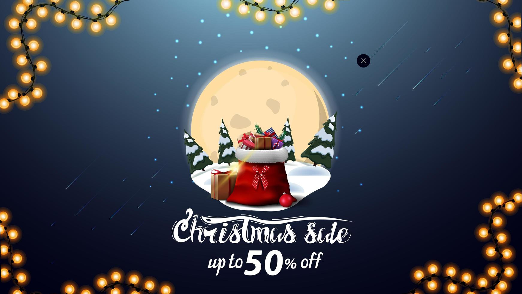 Christmas sale, up to 50 off, blue discount banner with big full moon, snowdrifts, pines, starry sky and Santa Claus bag with presents vector