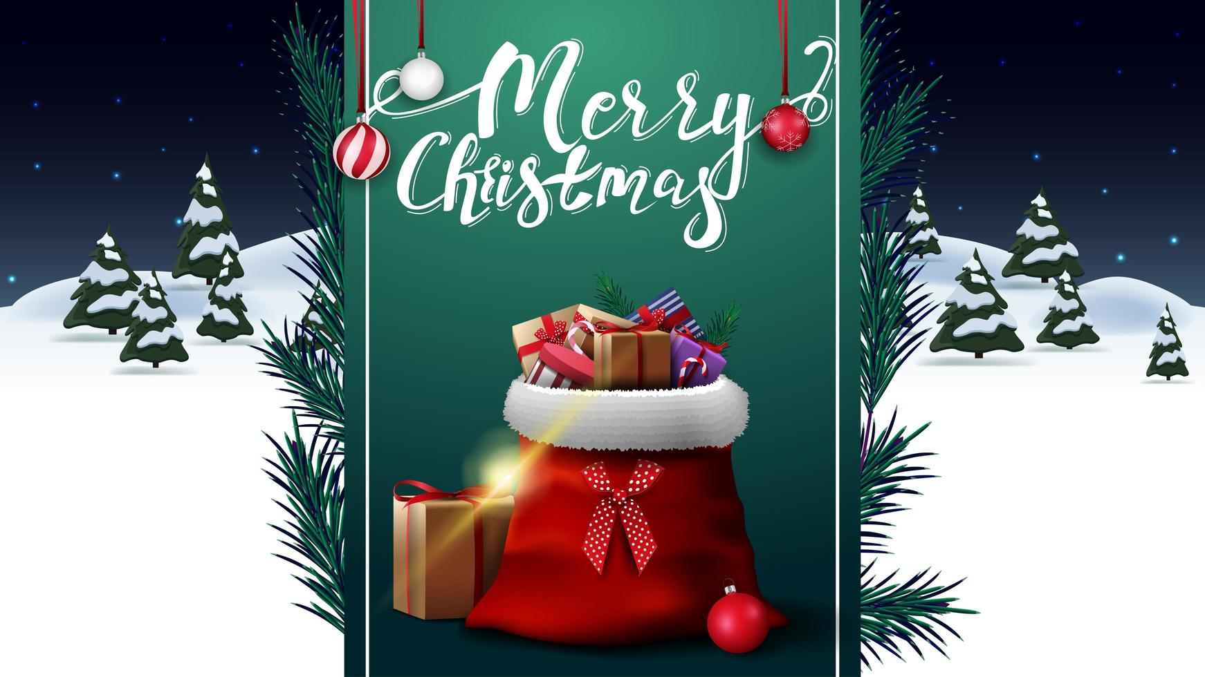 Merry Christmas, greeting postcard with night winter landscape and green vertical ribbon with Santa Claus bag with presents vector