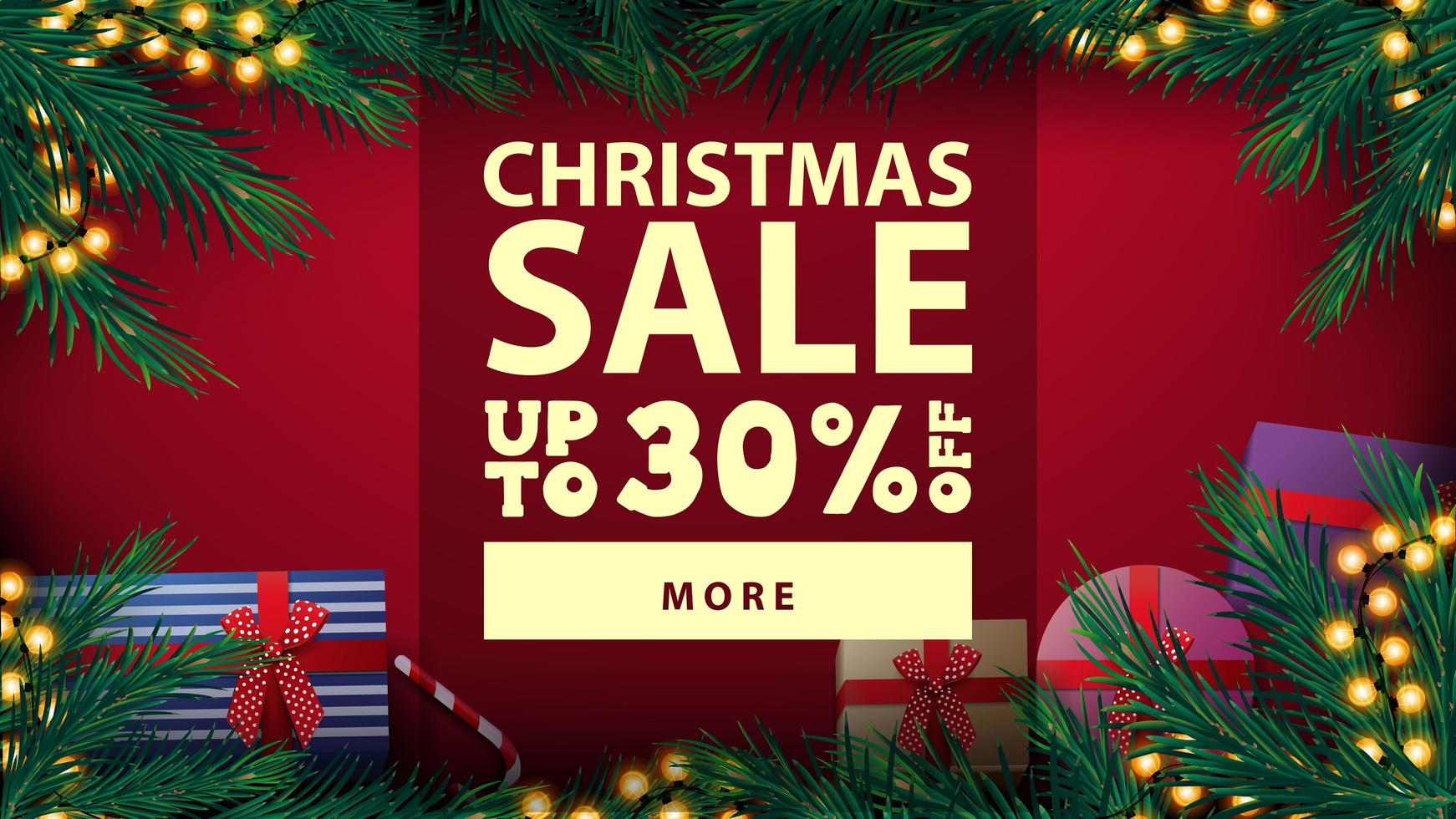 Christmas sale, up to 30 off, beautiful red discount banner with Christmas tree frame with yellow bulb garland and presents, top view vector