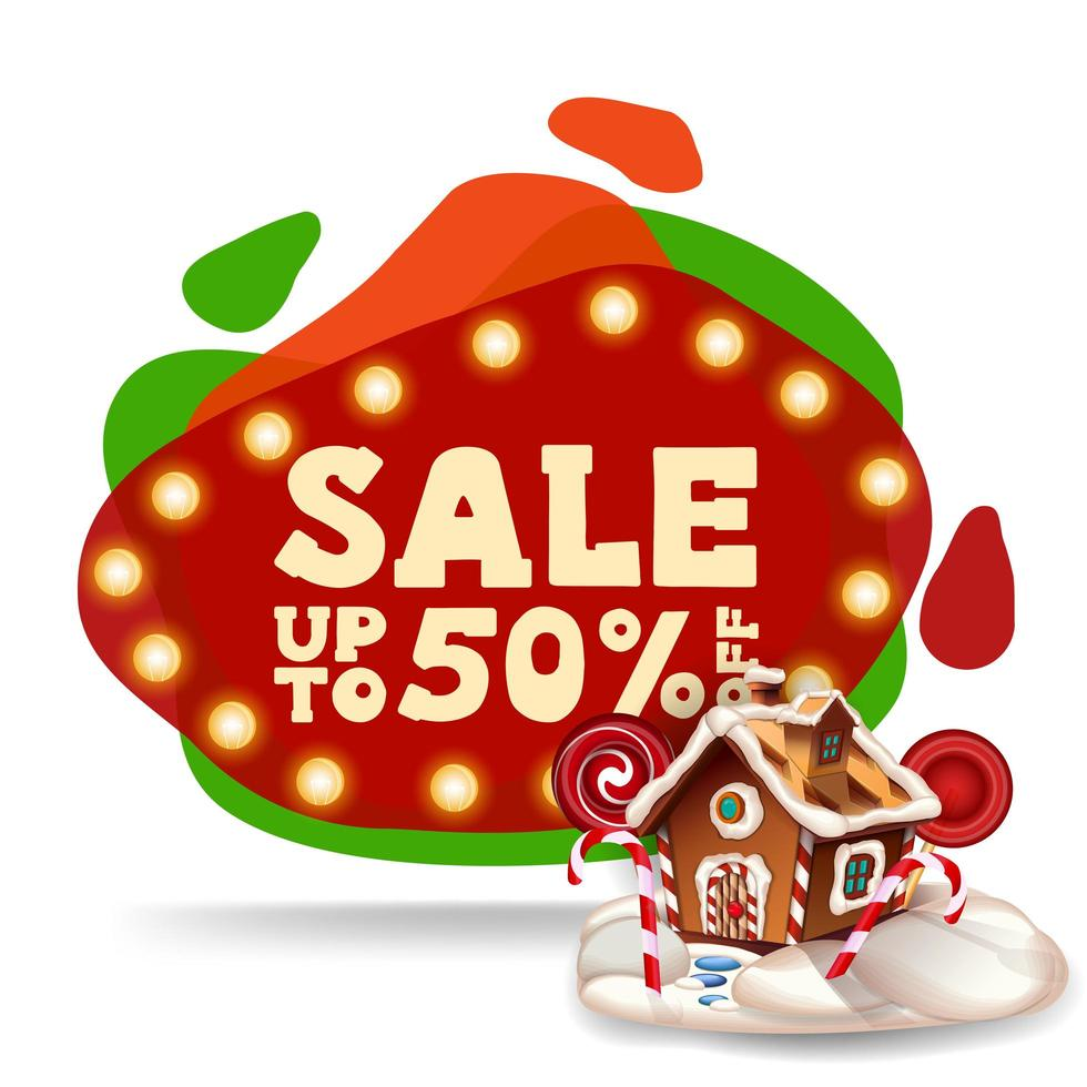 Christmas sale, up to 50 off, modern red discount banner in lava lamp style with Christmas gingerbread house vector