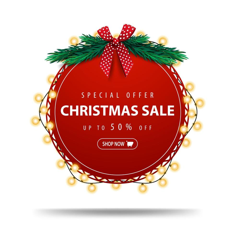 Special offer, Christmas sale, up to 50 off, round red discount banner wrapped with garland isolated on white background vector