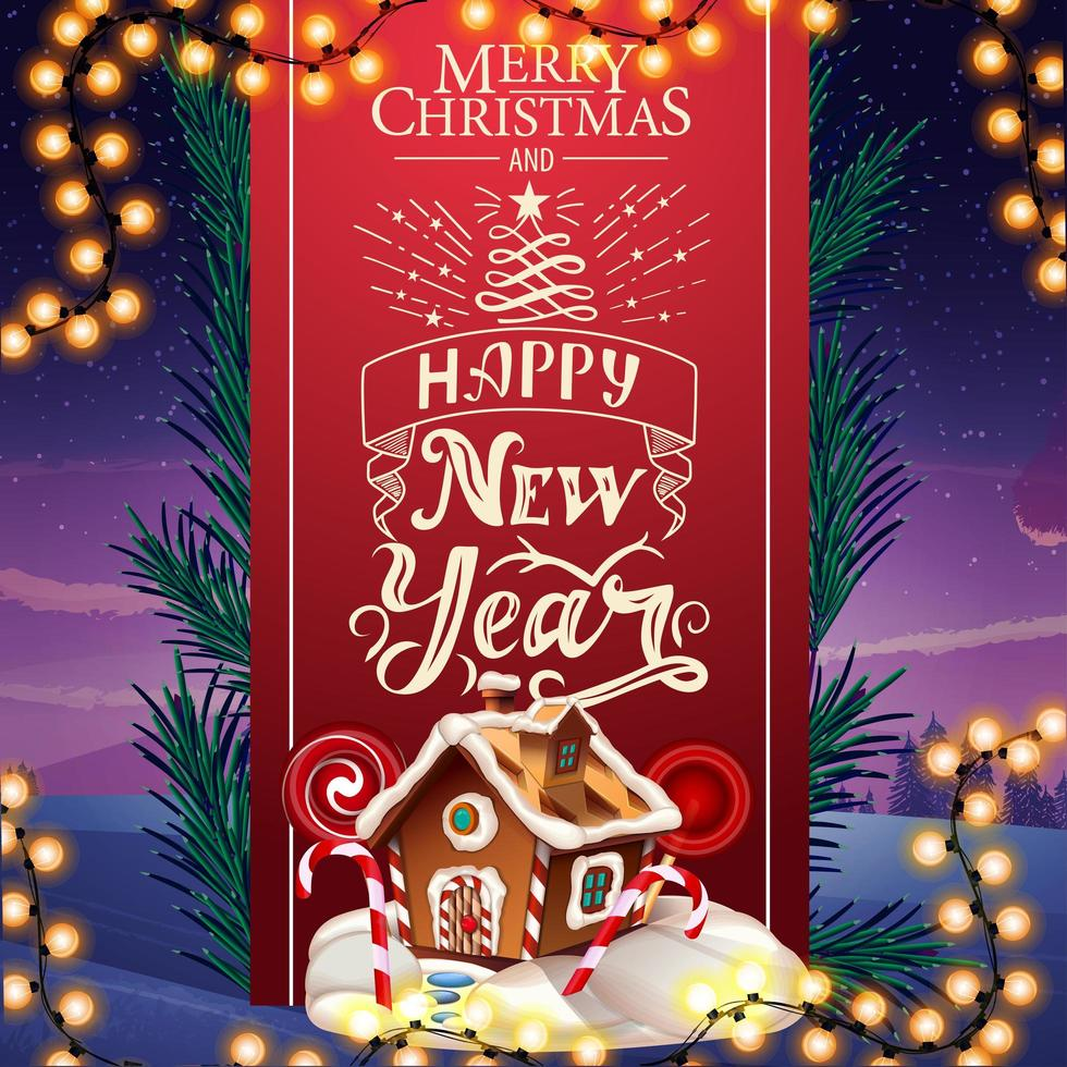 Merry Christmas and happy New Year, greeting card with beautiful lettering, red vertical ribbon decorated Christmas tree branches and Christmas gingerbread house vector