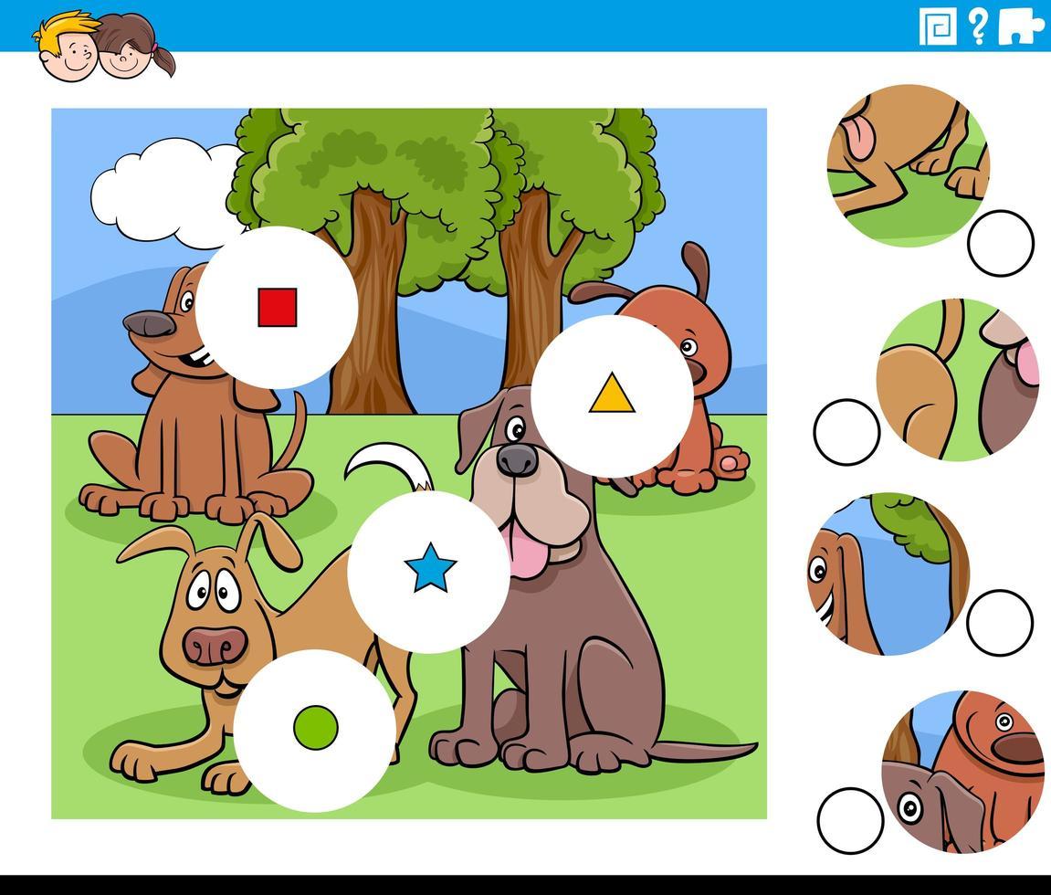 emparejar piezas tarea con perros personajes vector