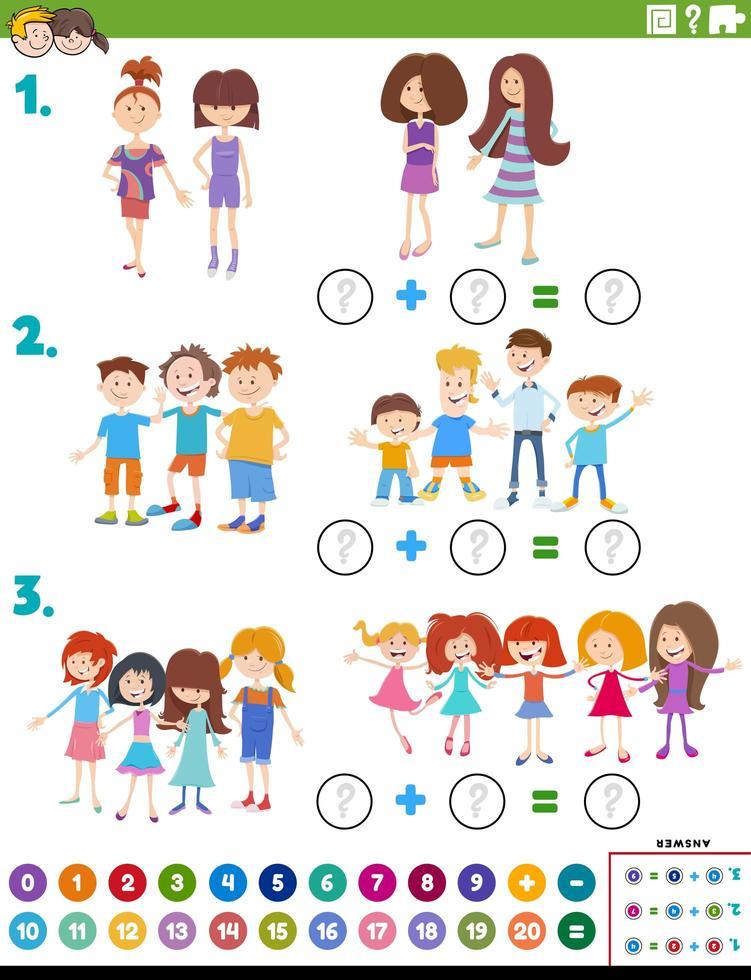 Tarea educativa de adición de matemáticas con niños. vector