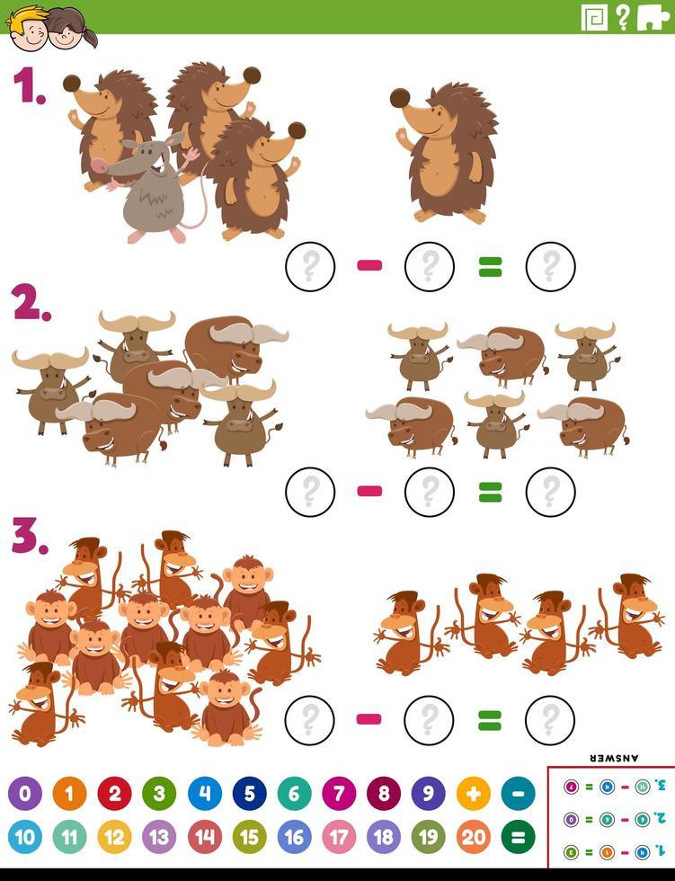 Tarea educativa de resta de matemáticas con animales. vector
