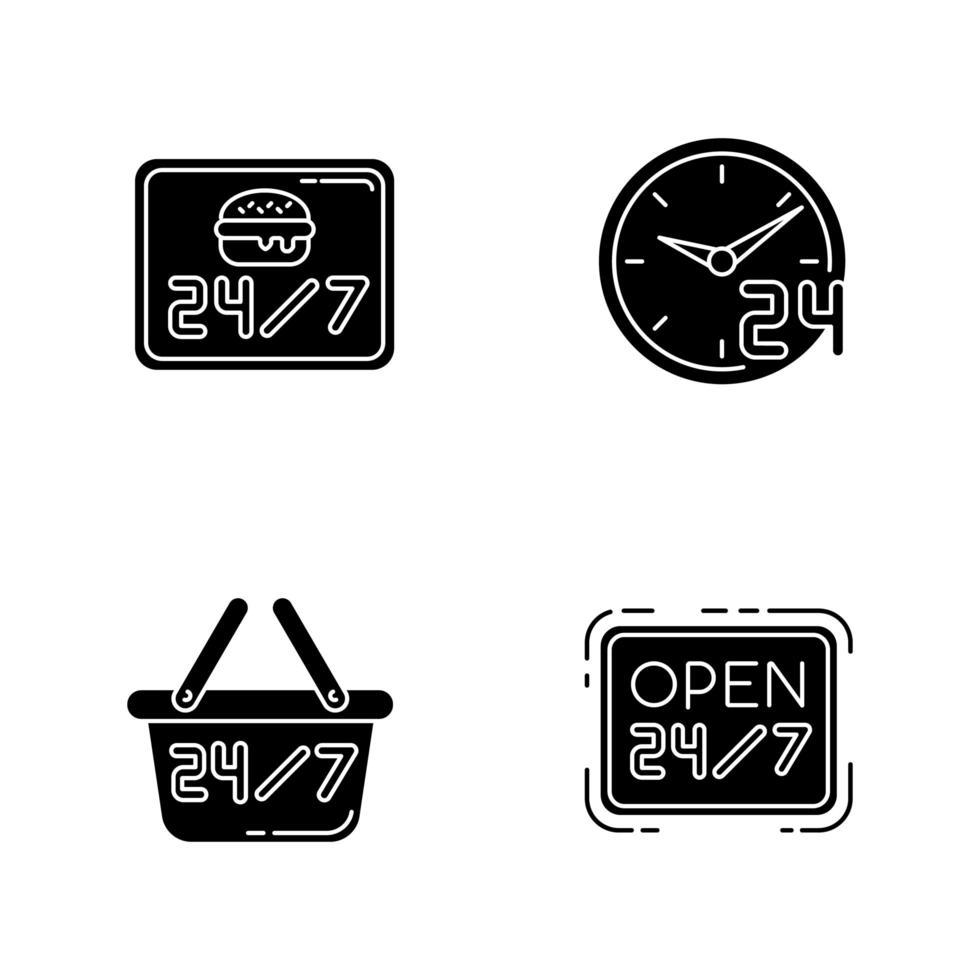 24 iconos de glifo negro de servicio de 7 horas en espacio en blanco. cafetería de hamburguesas abierta todos los días. Restaurante disponible las 24 hrs. abierto veinticuatro siete horas. símbolos de silueta. vector ilustración aislada