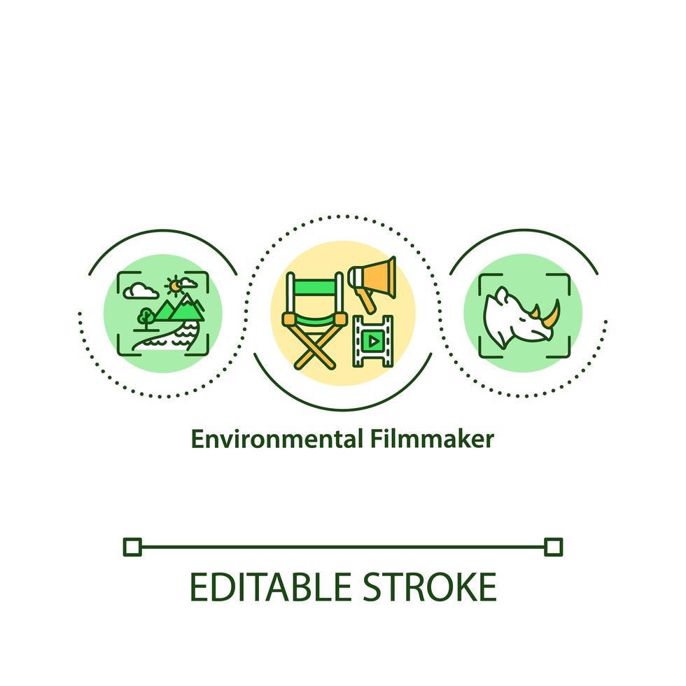 icono del concepto de cineasta ambiental vector