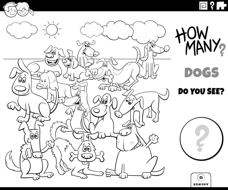 Contando perros juego educativo página de libro para colorear vector
