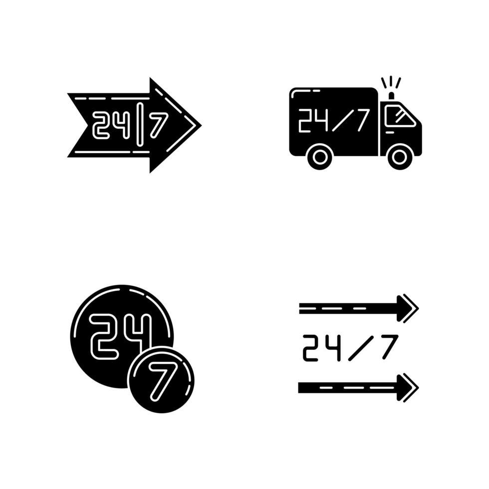24 iconos de glifo negro de servicio de 7 horas en espacio en blanco. camión de reparto disponible todo el día. tienda de conveniencia abierta las 24 horas. Tienda 24 hrs. símbolos de silueta. vector ilustración aislada