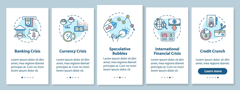 Pantalla de página de aplicación móvil de incorporación de crisis financiera con conceptos. vector