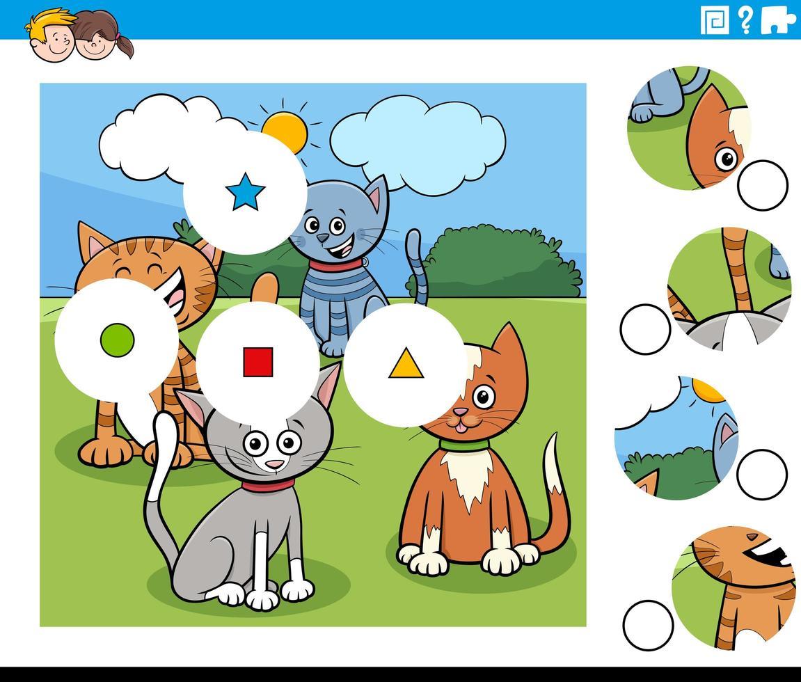 Combina piezas de rompecabezas con personajes de gatos de dibujos animados vector