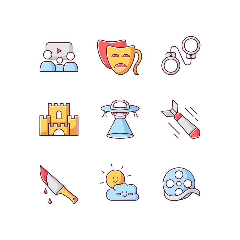 Movie categories RGB color icons set. Different film types, popular cinema genres. vector