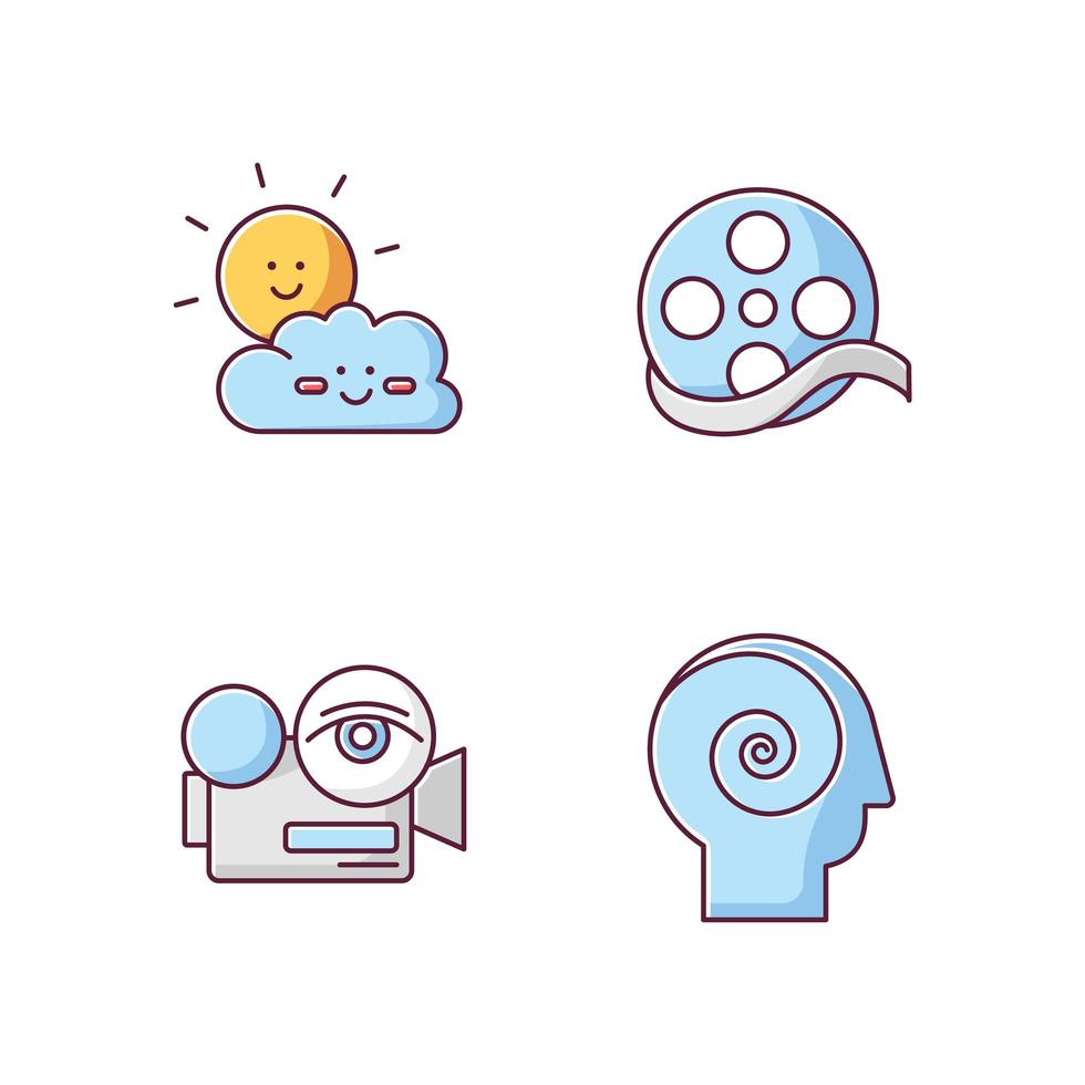 Movies and TV genres RGB color icons set. Children cartoons, documentary, arthouse and philosophical films. vector