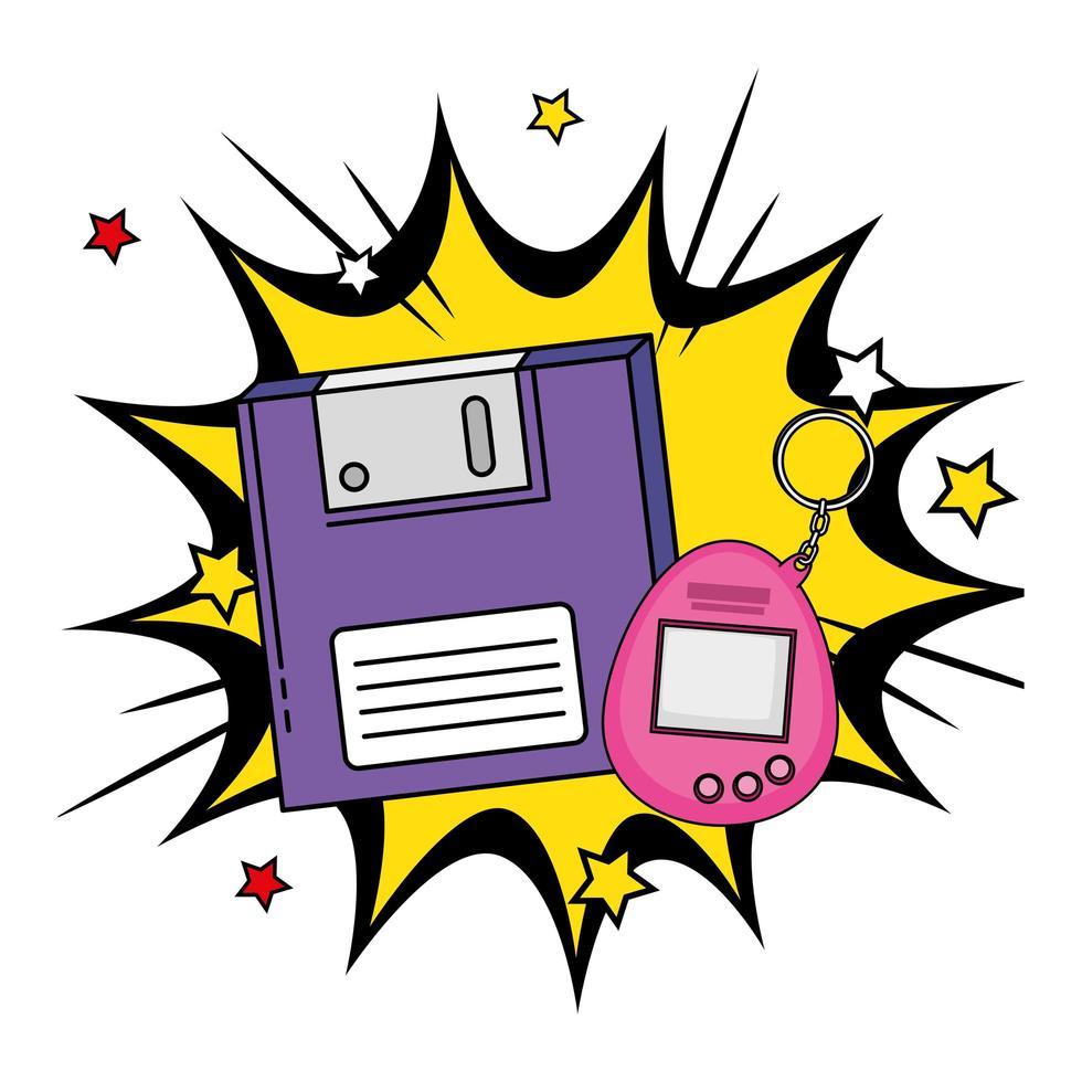 disquete con mascota de videojuego de los noventa en explosión pop art vector